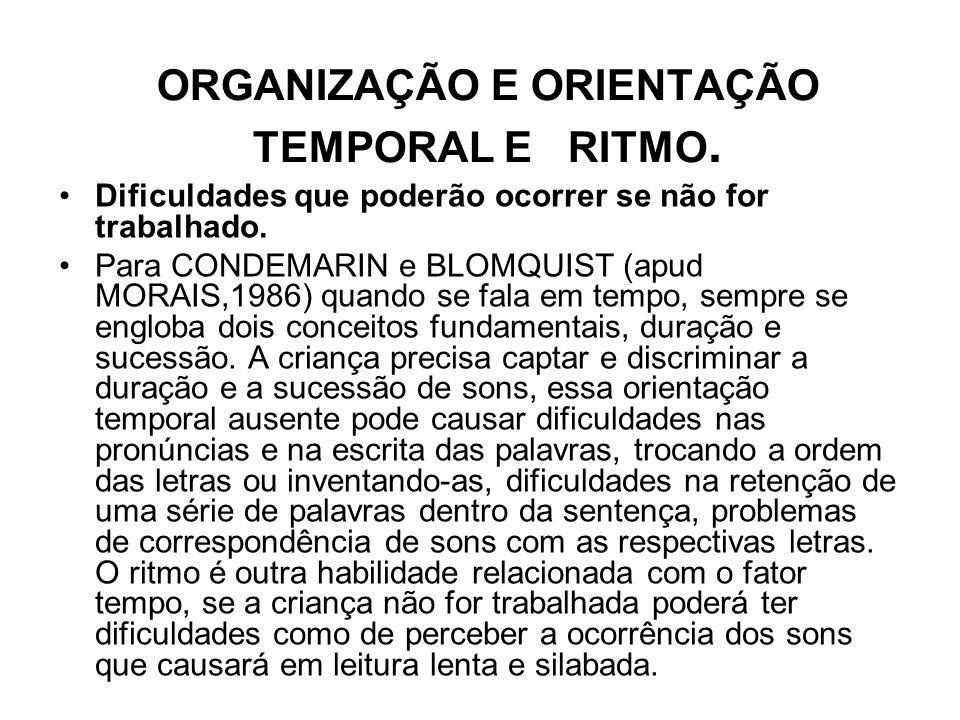 ORGANIZAÇÃO E ORIENTAÇÃO TEMPORAL E RITMO. Dificuldades que poderão ocorrer se não for trabalhado. Para CONDEMARIN e BLOMQUIST (apud MORAIS,1986) quan