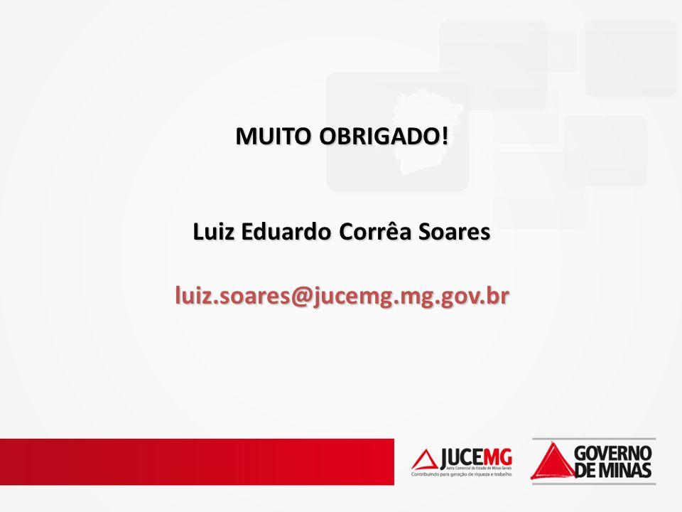 MUITO OBRIGADO! Luiz Eduardo Corrêa Soares luiz.soares@jucemg.mg.gov.br