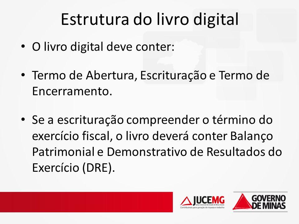 Estrutura do livro digital O livro digital deve conter: Termo de Abertura, Escrituração e Termo de Encerramento. Se a escrituração compreender o térmi