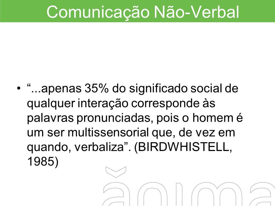 Comunicação Não-Verbal...apenas 35% do significado social de qualquer interação corresponde às palavras pronunciadas, pois o homem é um ser multissens