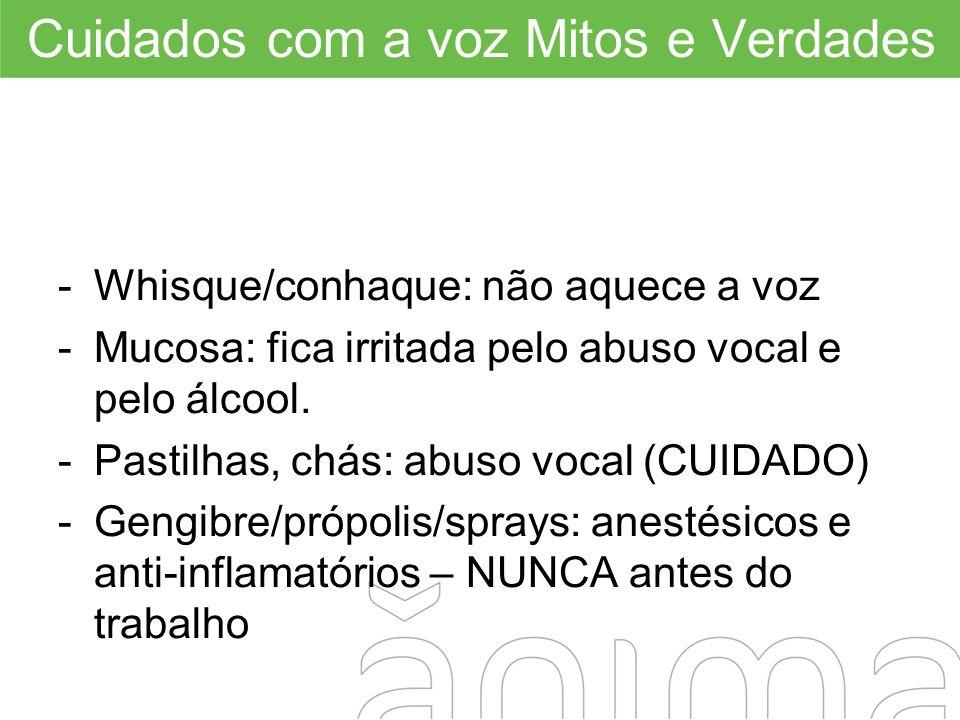 Cuidados com a voz Mitos e Verdades -Whisque/conhaque: não aquece a voz -Mucosa: fica irritada pelo abuso vocal e pelo álcool. -Pastilhas, chás: abuso