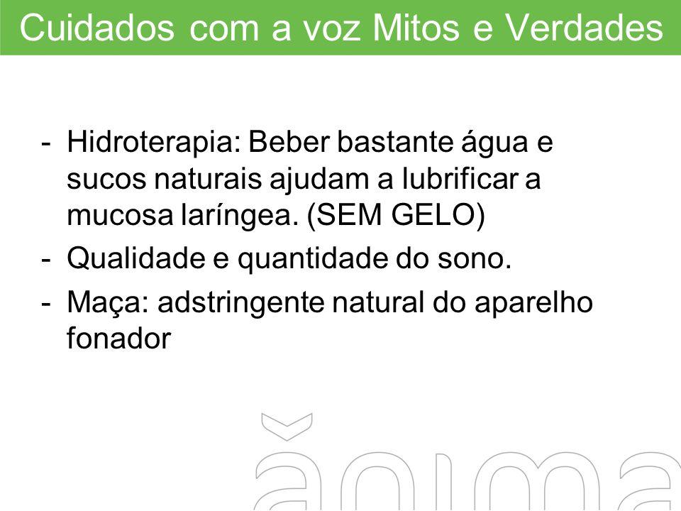 -Hidroterapia: Beber bastante água e sucos naturais ajudam a lubrificar a mucosa laríngea. (SEM GELO) -Qualidade e quantidade do sono. -Maça: adstring