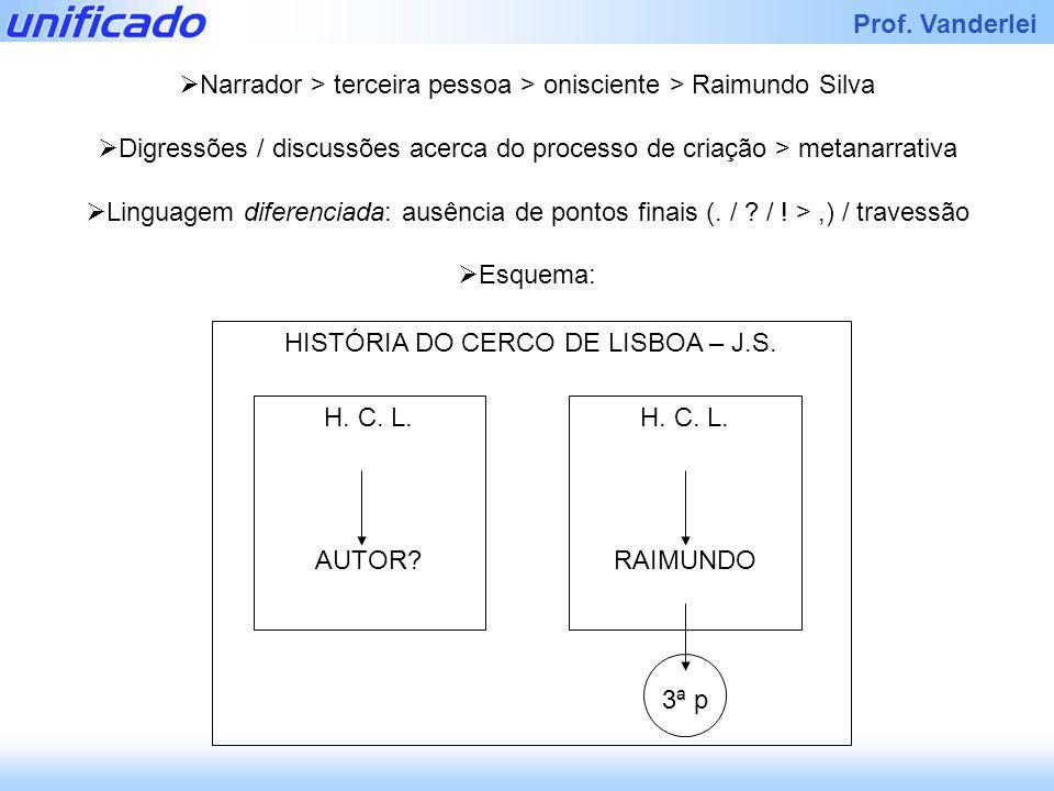 Iracema Prof. Vanderlei Narrador > terceira pessoa > onisciente > Raimundo Silva Digressões / discussões acerca do processo de criação > metanarrativa
