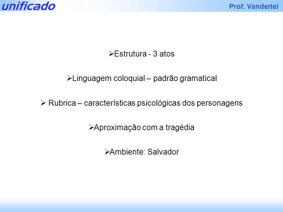 Iracema Prof. Vanderlei Estrutura - 3 atos Linguagem coloquial – padrão gramatical Rubrica – características psicológicas dos personagens Aproximação