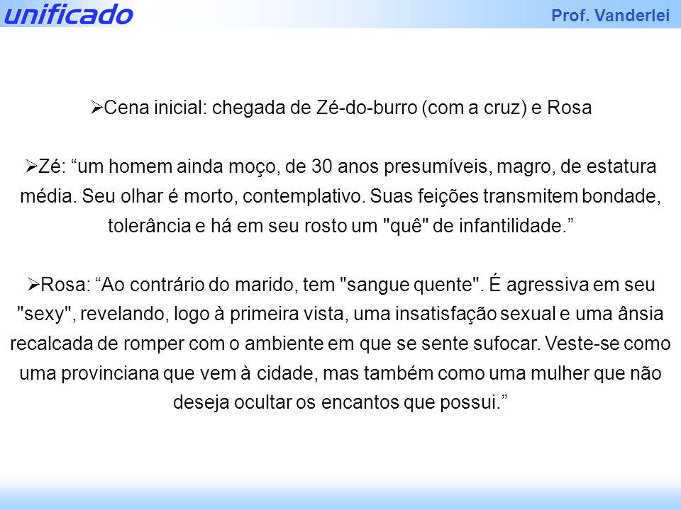 Iracema Prof. Vanderlei Cena inicial: chegada de Zé-do-burro (com a cruz) e Rosa Zé: um homem ainda moço, de 30 anos presumíveis, magro, de estatura m