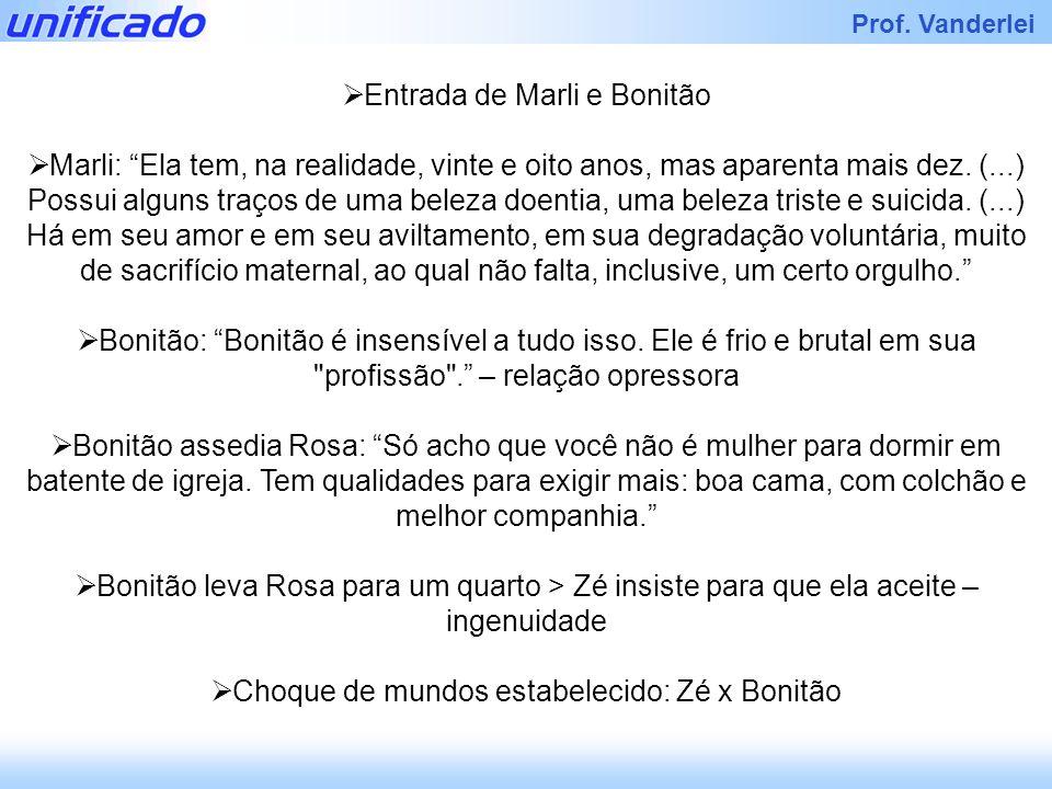 Iracema Prof. Vanderlei Entrada de Marli e Bonitão Marli: Ela tem, na realidade, vinte e oito anos, mas aparenta mais dez. (...) Possui alguns traços