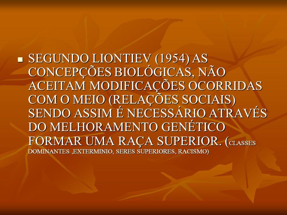 SEGUNDO LIONTIEV (1954) AS CONCEPÇÕES BIOLÓGICAS, NÃO ACEITAM MODIFICAÇÕES OCORRIDAS COM O MEIO (RELAÇÕES SOCIAIS) SENDO ASSIM É NECESSÁRIO ATRAVÉS DO