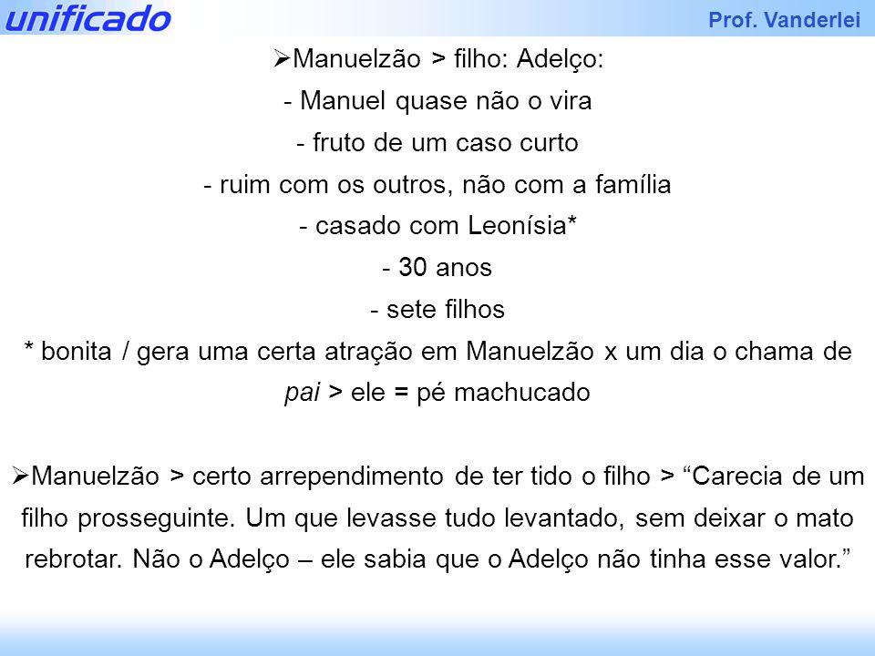 Prof. Vanderlei Manuelzão > filho: Adelço: - Manuel quase não o vira - fruto de um caso curto - ruim com os outros, não com a família - casado com Leo