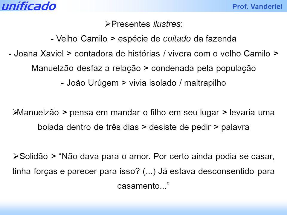 Prof. Vanderlei Presentes ilustres: - Velho Camilo > espécie de coitado da fazenda - Joana Xaviel > contadora de histórias / vivera com o velho Camilo