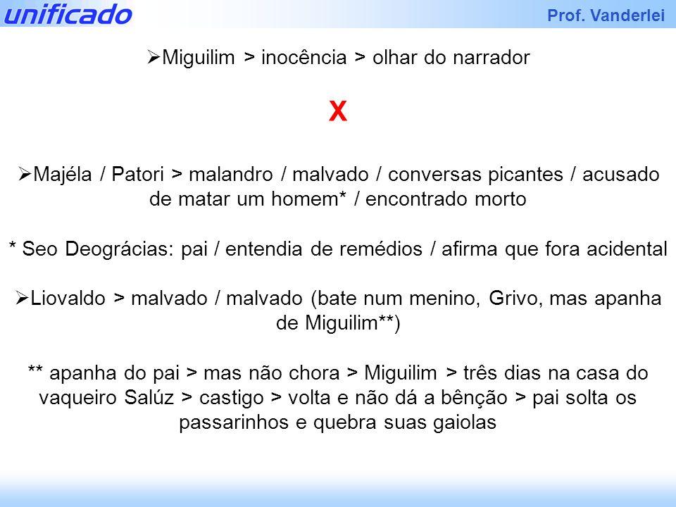 Prof. Vanderlei Miguilim > inocência > olhar do narrador X Majéla / Patori > malandro / malvado / conversas picantes / acusado de matar um homem* / en