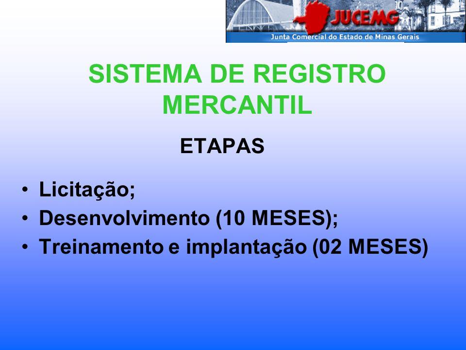 ETAPAS Licitação; Desenvolvimento (10 MESES); Treinamento e implantação (02 MESES) SISTEMA DE REGISTRO MERCANTIL