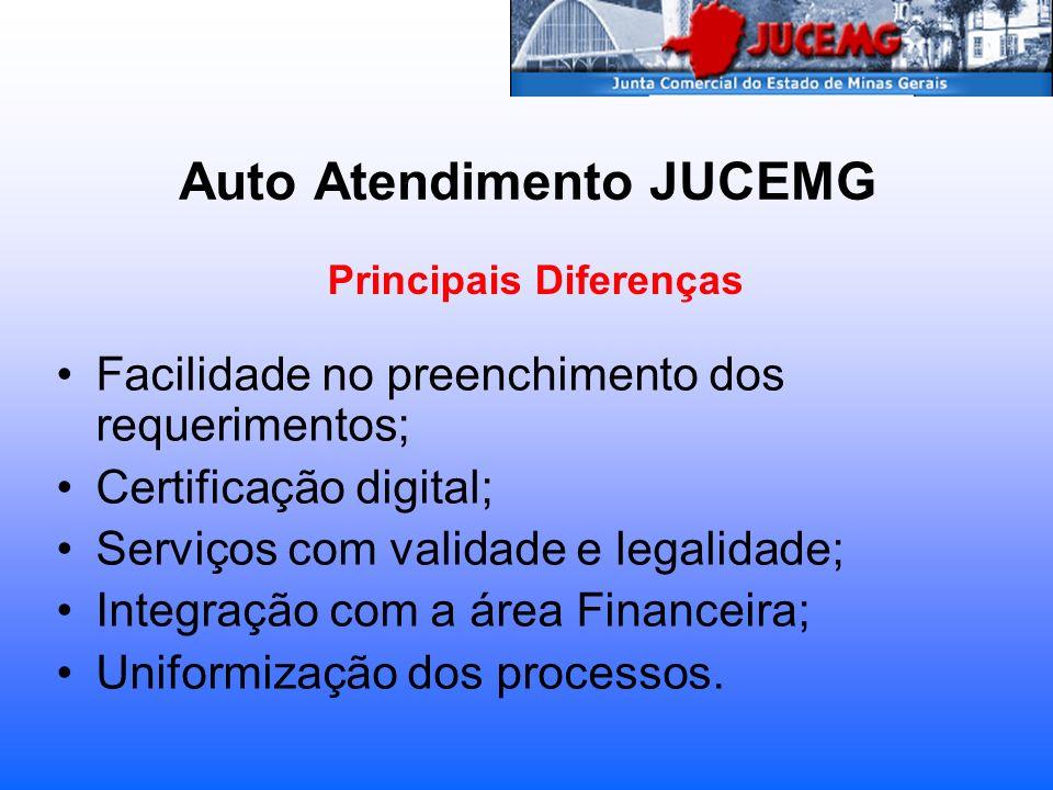 Auto Atendimento JUCEMG Facilidade no preenchimento dos requerimentos; Certificação digital; Serviços com validade e legalidade; Integração com a área