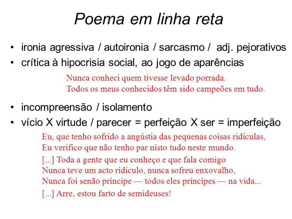 Poema em linha reta ironia agressiva / autoironia / sarcasmo / adj. pejorativos crítica à hipocrisia social, ao jogo de aparências incompreensão / iso