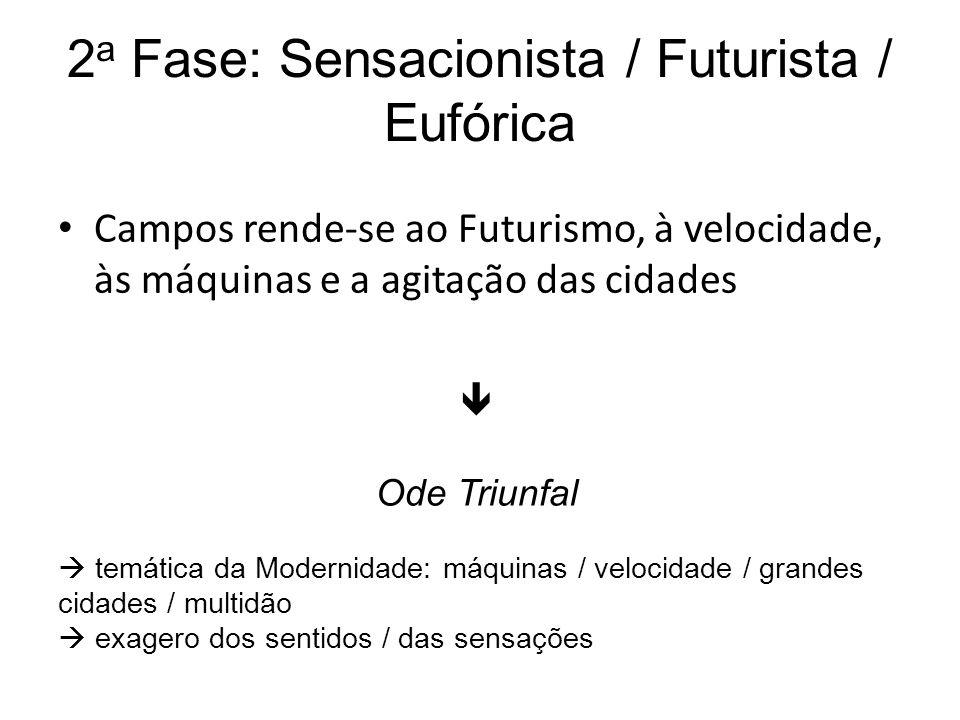 2 a Fase: Sensacionista / Futurista / Eufórica Campos rende-se ao Futurismo, à velocidade, às máquinas e a agitação das cidades Ode Triunfal temática
