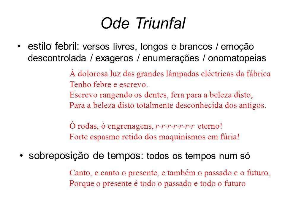 Ode Triunfal estilo febril: versos livres, longos e brancos / emoção descontrolada / exageros / enumerações / onomatopeias À dolorosa luz das grandes