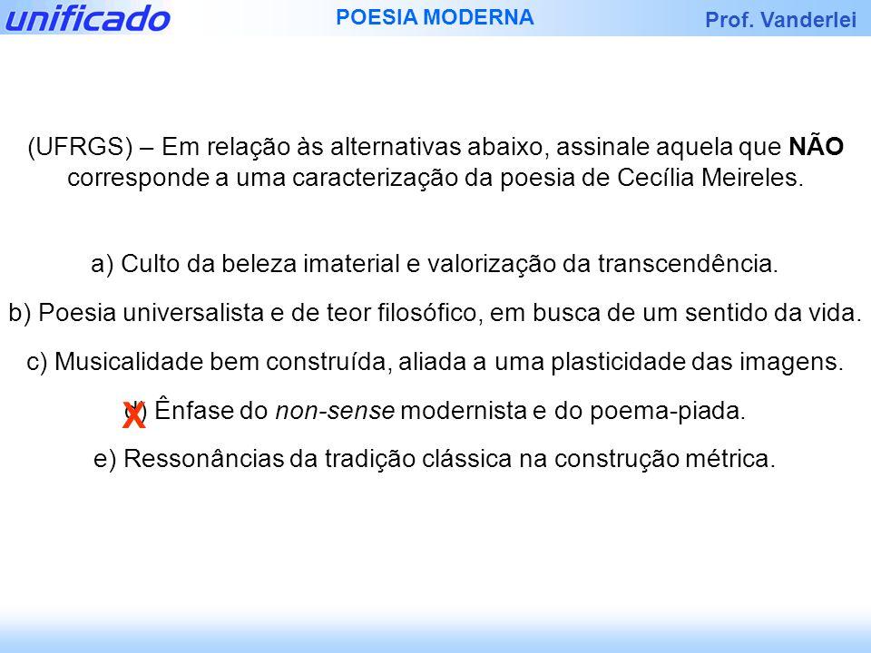 Prof. Vanderlei POESIA MODERNA (UFRGS) – Em relação às alternativas abaixo, assinale aquela que NÃO corresponde a uma caracterização da poesia de Cecí