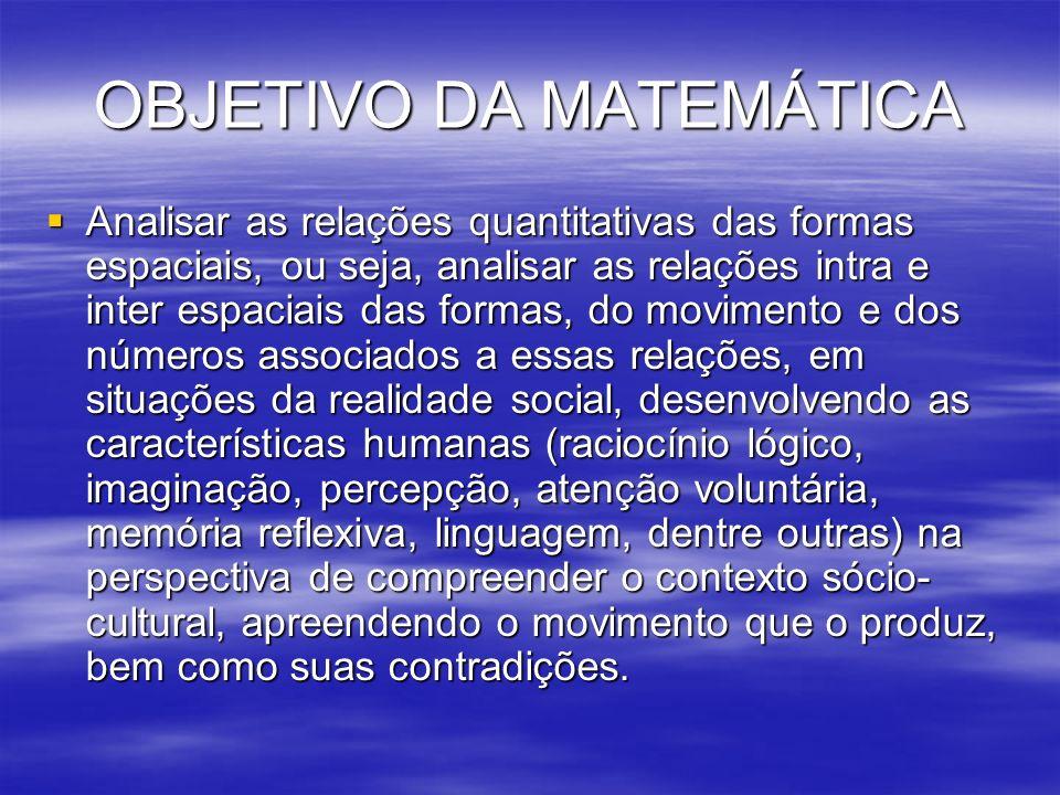 OBJETIVO DA MATEMÁTICA Analisar as relações quantitativas das formas espaciais, ou seja, analisar as relações intra e inter espaciais das formas, do m