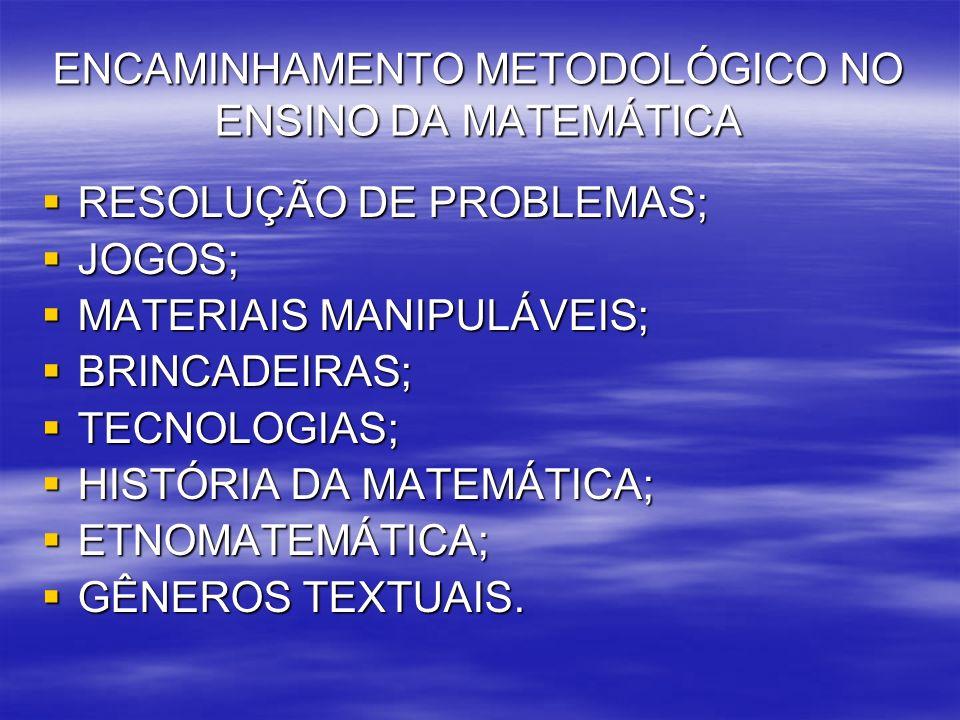 ENCAMINHAMENTO METODOLÓGICO NO ENSINO DA MATEMÁTICA RESOLUÇÃO DE PROBLEMAS; RESOLUÇÃO DE PROBLEMAS; JOGOS; JOGOS; MATERIAIS MANIPULÁVEIS; MATERIAIS MA