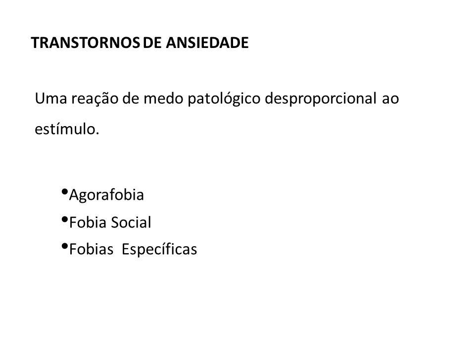 Agorafobia Fobia Social Fobias Específicas Uma reação de medo patológico desproporcional ao estímulo. TRANSTORNOS DE ANSIEDADE