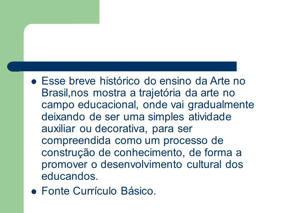 Esse breve histórico do ensino da Arte no Brasil,nos mostra a trajetória da arte no campo educacional, onde vai gradualmente deixando de ser uma simples atividade auxiliar ou decorativa, para ser compreendida como um processo de construção de conhecimento, de forma a promover o desenvolvimento cultural dos educandos.