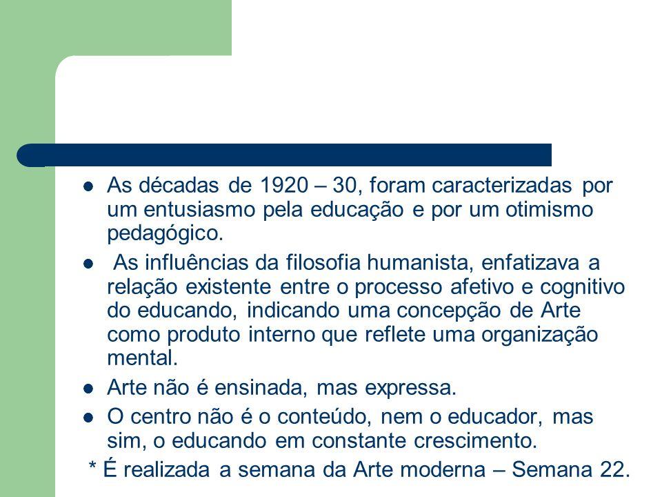 As décadas de 1920 – 30, foram caracterizadas por um entusiasmo pela educação e por um otimismo pedagógico. As influências da filosofia humanista, enf