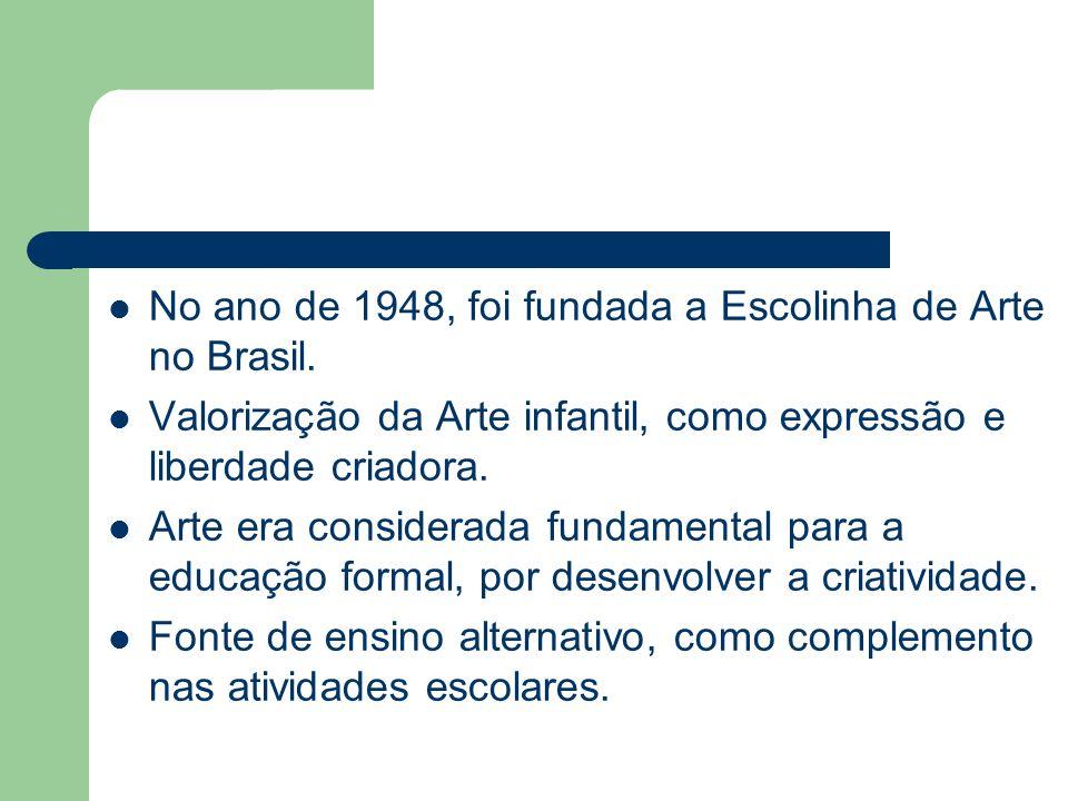 No ano de 1948, foi fundada a Escolinha de Arte no Brasil. Valorização da Arte infantil, como expressão e liberdade criadora. Arte era considerada fun