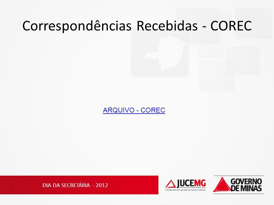 Correspondências Recebidas - COREC DIA DA SECRETÁRIA - 2012 ARQUIVO - COREC