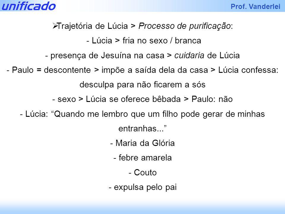 Prof. Vanderlei Trajetória de Lúcia > Processo de purificação: - Lúcia > fria no sexo / branca - presença de Jesuína na casa > cuidaria de Lúcia - Pau