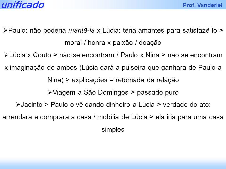 Prof. Vanderlei Paulo: não poderia mantê-la x Lúcia: teria amantes para satisfazê-lo > moral / honra x paixão / doação Lúcia x Couto > não se encontra