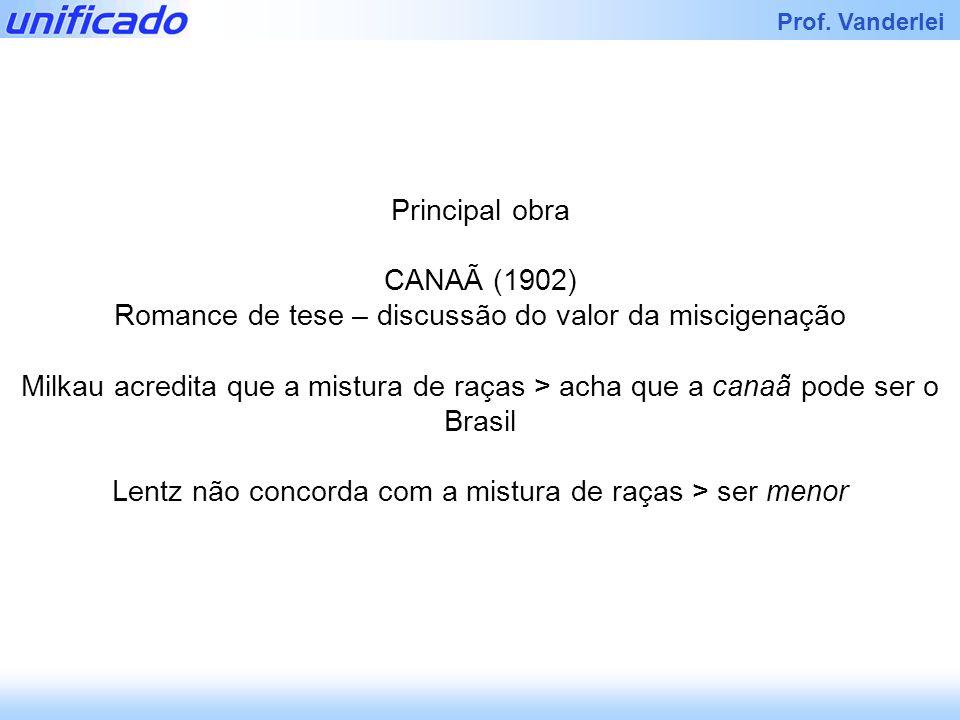 Iracema Prof. Vanderlei Principal obra CANAÃ (1902) Romance de tese – discussão do valor da miscigenação Milkau acredita que a mistura de raças > acha