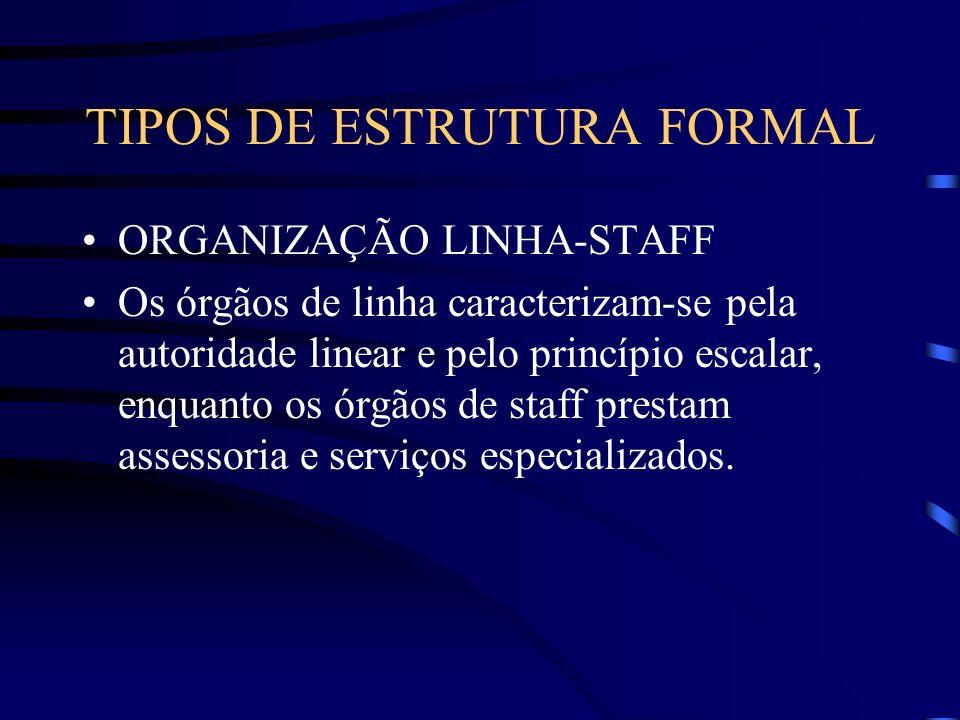 TIPO DE ESTRUTURA FORMAL ORGANIZAÇÃO LINHA-STAFF: é a combinação dos tipos de organização linear e funcional, buscando incrementar as vantagens e redu