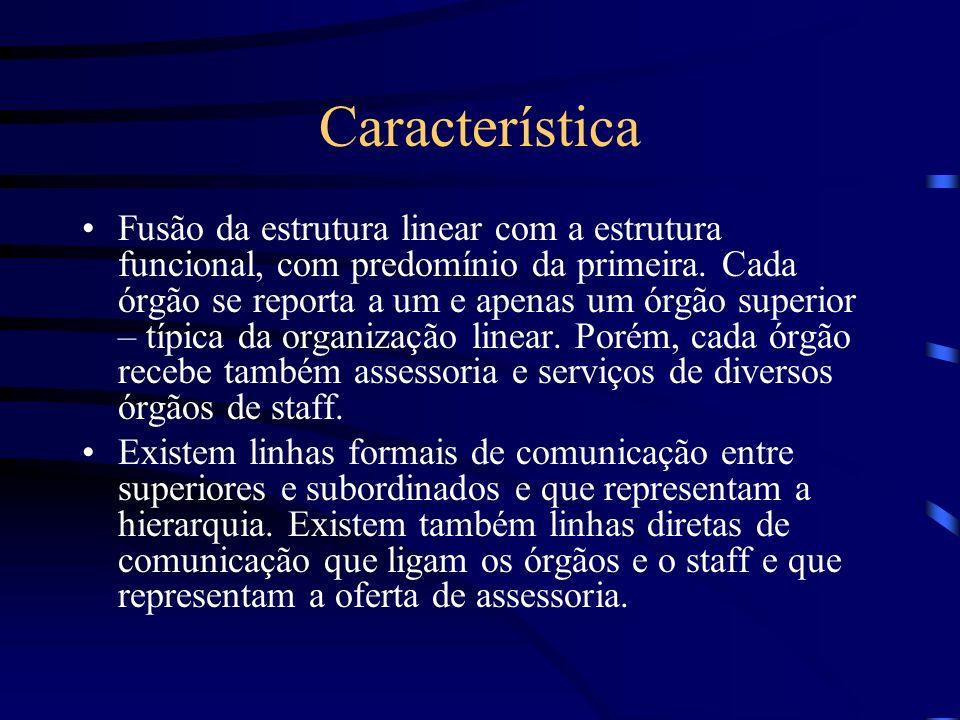TIPOS DE ESTRUTURA FORMAL ORGANIZAÇÃO LINHA-STAFF Os órgãos de linha caracterizam-se pela autoridade linear e pelo princípio escalar, enquanto os órgã