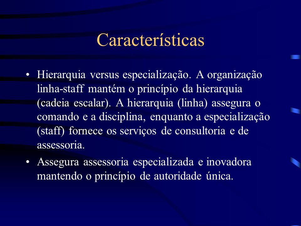 Característica Separação entre órgãos operacionais (executivos) e órgão de apoio e suporte (assessores) A autoridade e responsabilidade dos membros do
