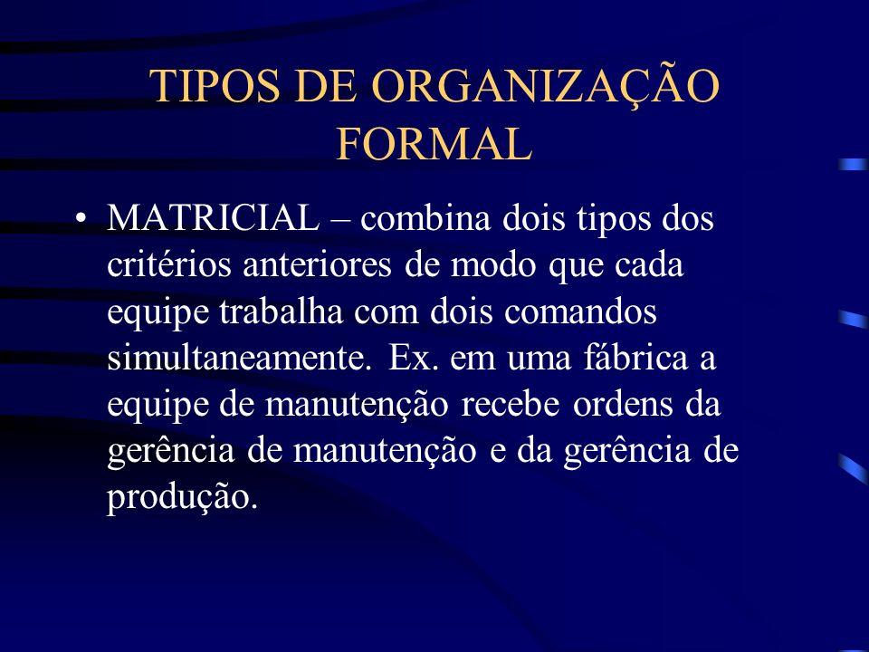 TIPOS DE ORGANIZAÇÃO FORMAL CLIENTES - é estruturada por tipo de cliente. Ex. infantil, feminino, etc. PROCESSOS – é estruturada segundo as etapas do