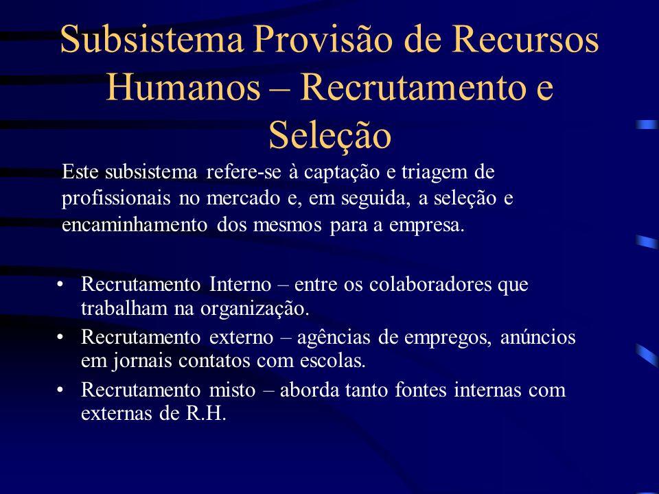 Provisão de Recursos Humanos – Recrutamento e Seleção Aplicação de Recursos humanos – posicionamento dos colaboradores e avaliação de seu desempenho M