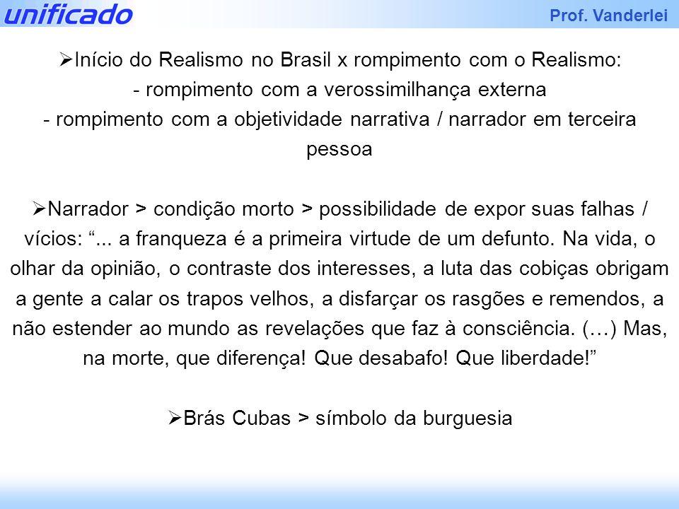 Prof. Vanderlei Início do Realismo no Brasil x rompimento com o Realismo: - rompimento com a verossimilhança externa - rompimento com a objetividade n
