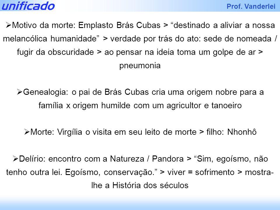 Prof. Vanderlei Motivo da morte: Emplasto Brás Cubas > destinado a aliviar a nossa melancólica humanidade > verdade por trás do ato: sede de nomeada /