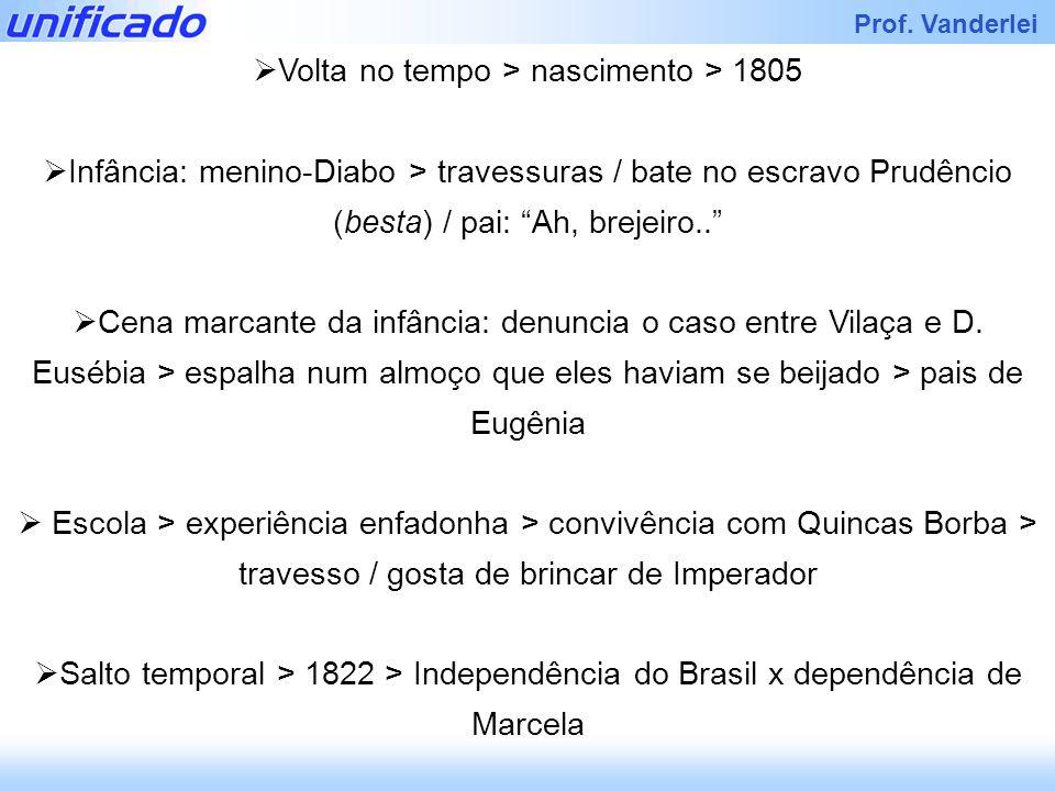 Prof. Vanderlei Volta no tempo > nascimento > 1805 Infância: menino-Diabo > travessuras / bate no escravo Prudêncio (besta) / pai: Ah, brejeiro.. Cena