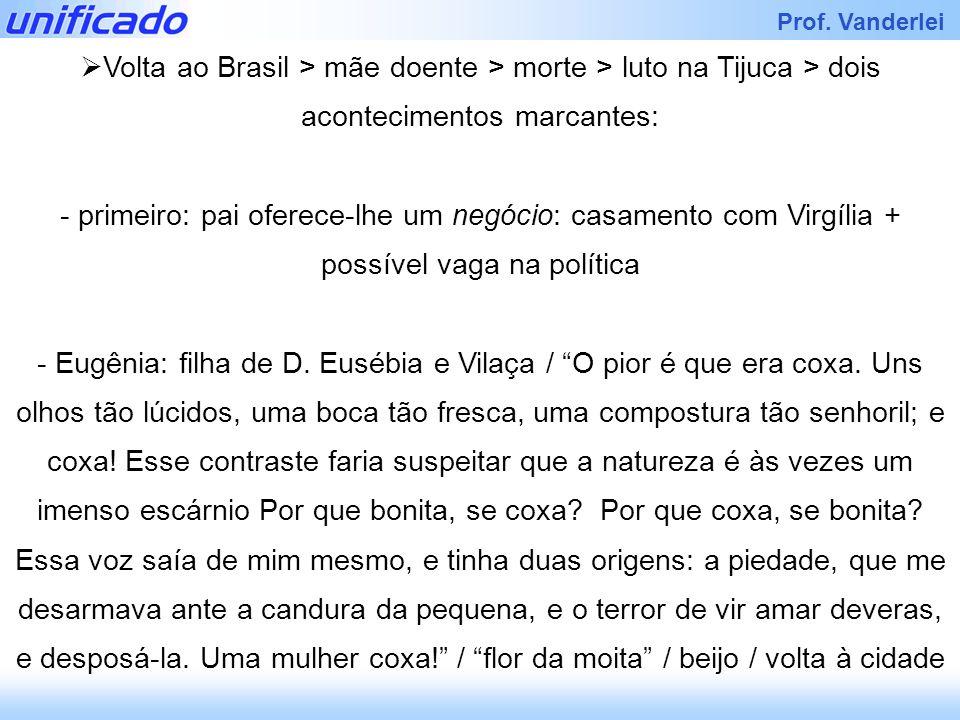 Prof. Vanderlei Volta ao Brasil > mãe doente > morte > luto na Tijuca > dois acontecimentos marcantes: - primeiro: pai oferece-lhe um negócio: casamen