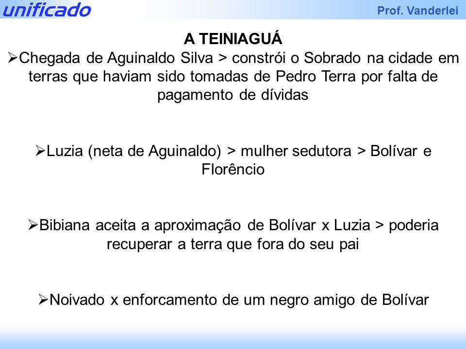 Iracema Prof. Vanderlei A TEINIAGUÁ Chegada de Aguinaldo Silva > constrói o Sobrado na cidade em terras que haviam sido tomadas de Pedro Terra por fal