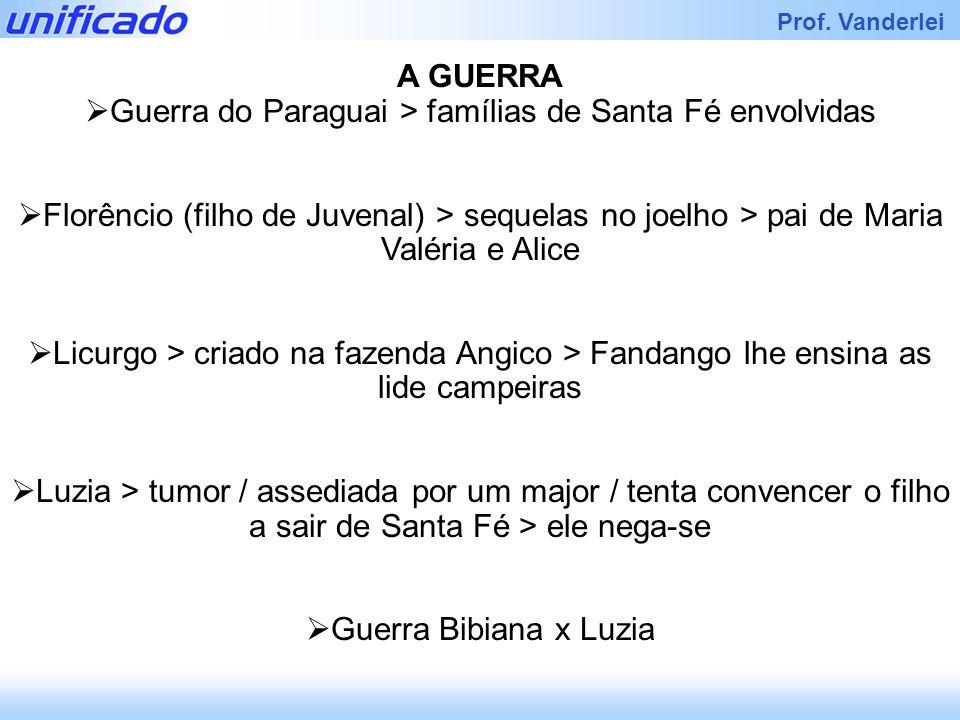Iracema Prof. Vanderlei A GUERRA Guerra do Paraguai > famílias de Santa Fé envolvidas Florêncio (filho de Juvenal) > sequelas no joelho > pai de Maria