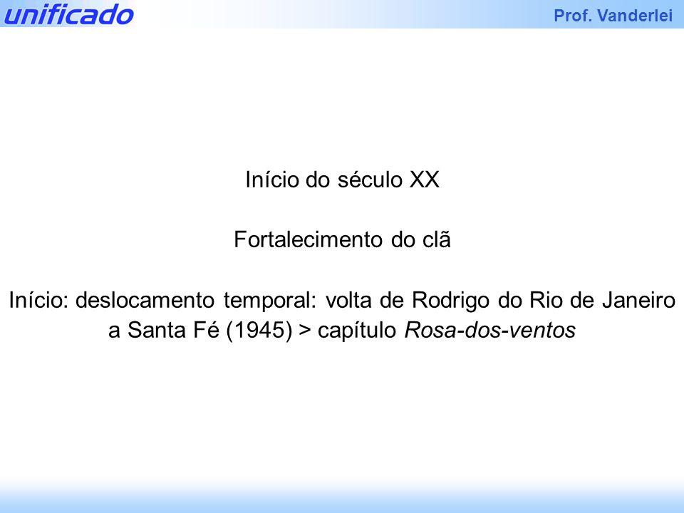 Iracema Prof. Vanderlei Início do século XX Fortalecimento do clã Início: deslocamento temporal: volta de Rodrigo do Rio de Janeiro a Santa Fé (1945)