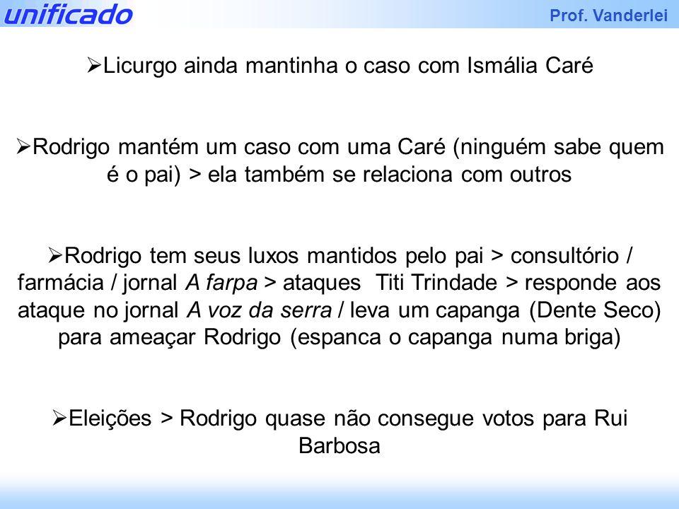 Iracema Prof. Vanderlei Licurgo ainda mantinha o caso com Ismália Caré Rodrigo mantém um caso com uma Caré (ninguém sabe quem é o pai) > ela também se