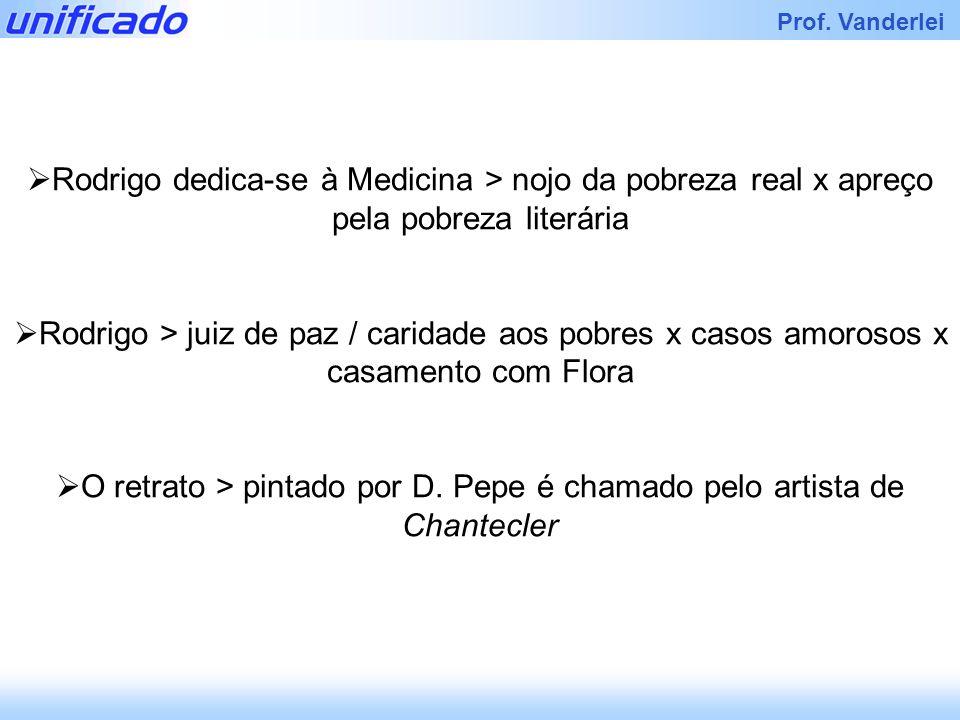 Iracema Prof. Vanderlei Rodrigo dedica-se à Medicina > nojo da pobreza real x apreço pela pobreza literária Rodrigo > juiz de paz / caridade aos pobre