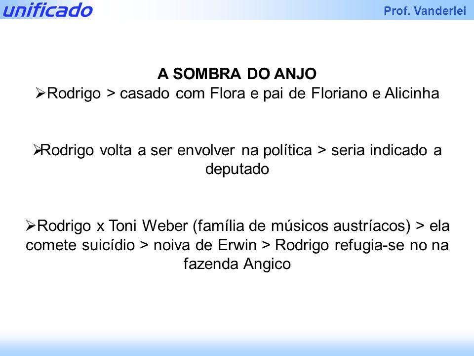 Iracema Prof. Vanderlei A SOMBRA DO ANJO Rodrigo > casado com Flora e pai de Floriano e Alicinha Rodrigo volta a ser envolver na política > seria indi