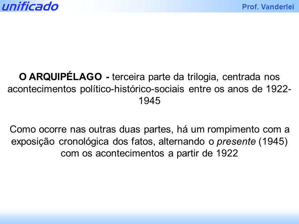 Iracema Prof. Vanderlei O ARQUIPÉLAGO - terceira parte da trilogia, centrada nos acontecimentos político-histórico-sociais entre os anos de 1922- 1945