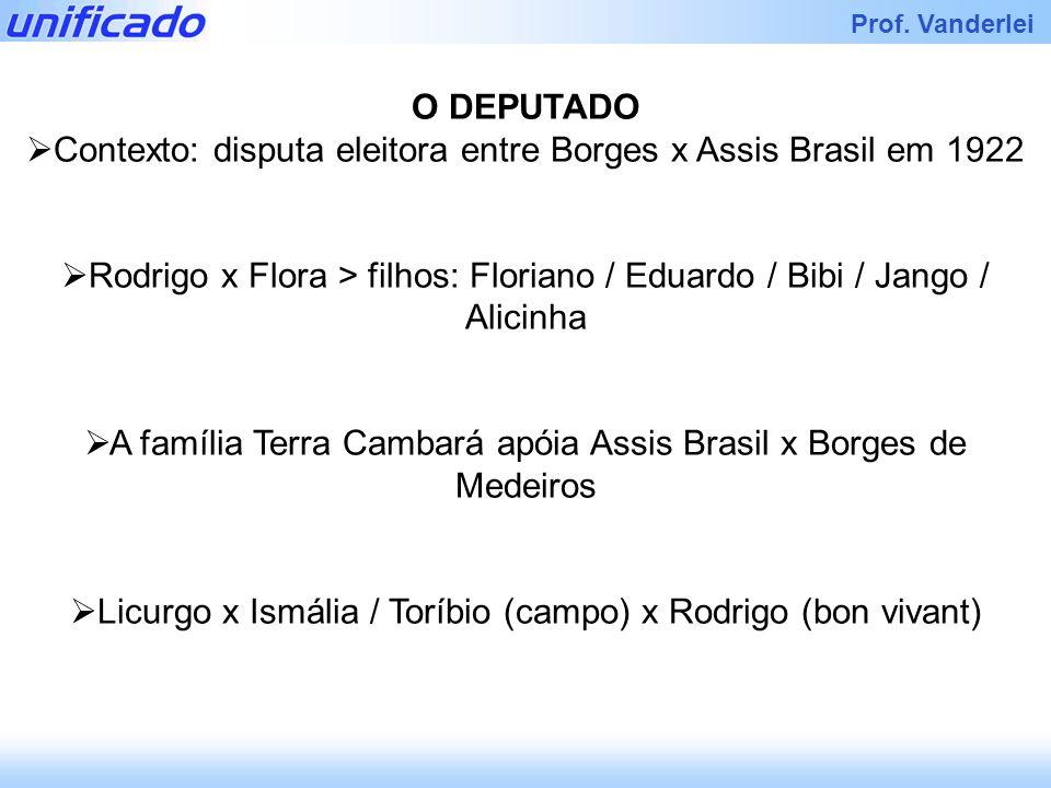 Iracema Prof. Vanderlei O DEPUTADO Contexto: disputa eleitora entre Borges x Assis Brasil em 1922 Rodrigo x Flora > filhos: Floriano / Eduardo / Bibi