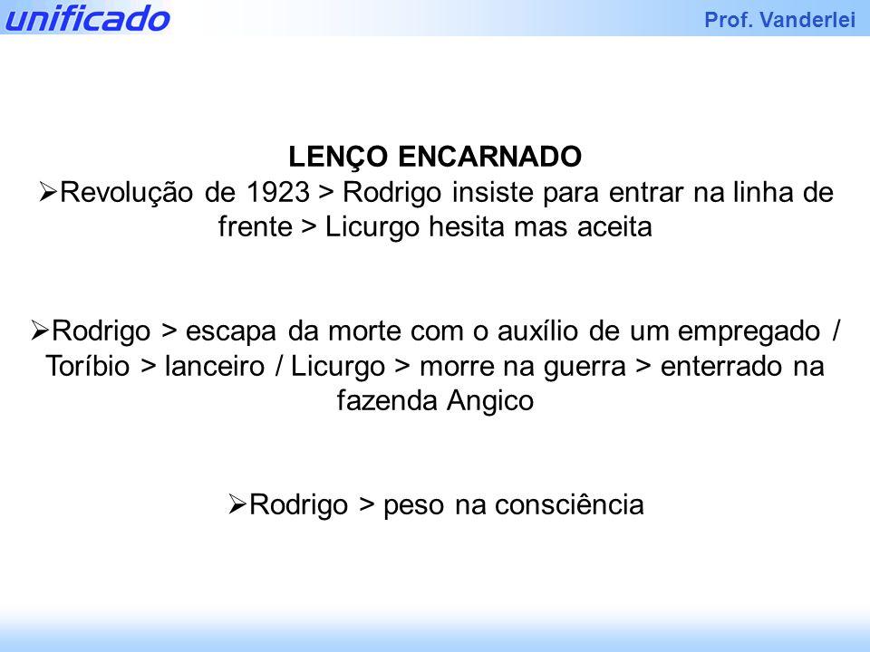 Iracema Prof. Vanderlei LENÇO ENCARNADO Revolução de 1923 > Rodrigo insiste para entrar na linha de frente > Licurgo hesita mas aceita Rodrigo > escap
