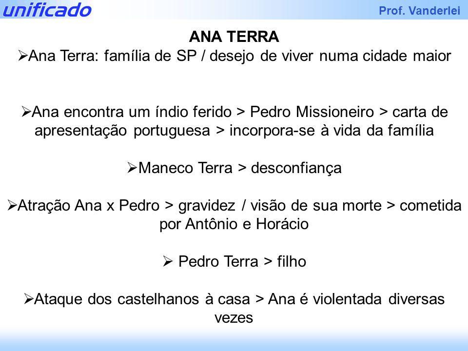 Iracema Prof. Vanderlei ANA TERRA Ana Terra: família de SP / desejo de viver numa cidade maior Ana encontra um índio ferido > Pedro Missioneiro > cart