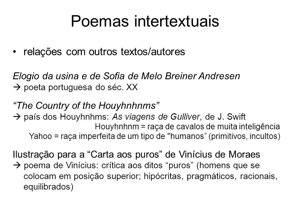 Poemas intertextuais relações com outros textos/autores Elogio da usina e de Sofia de Melo Breiner Andresen poeta portuguesa do séc. XX The Country of